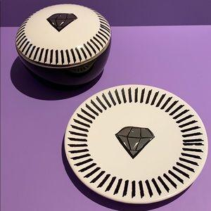 Jewelry organizer box and dish set diamond design